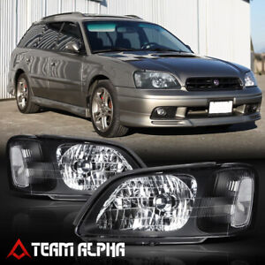 Fits 2000 2004 Subaru Legacy Black Clear Crystal Corner Headlight Headlamp Lamp