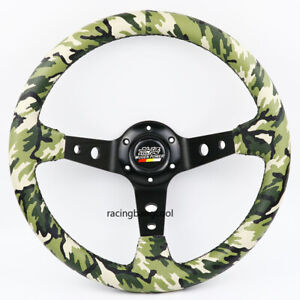 14inch Mugen Camo Pvc Leather Steering Wheel Thick Black Spoke Steering Wheel