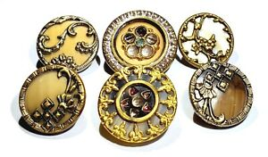 Antique Buttons 6 Assorted Small Victorian Celluloids