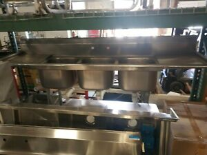 Used Commercial Stainless Steel 3 compartment Sink W 2 Drainboards