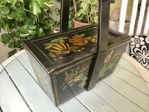 Vintage Primitive Handmade Wooden Box Basket W Lid Handle Originals Paint