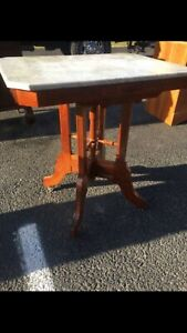 Antique Eastlake Marble Top Table W Caster Wheels