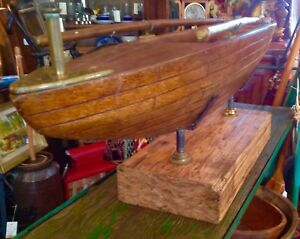 Antique Vintage Mahogany Pond Sail Boat Ship Hull W Oars On Wood Stand
