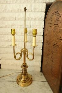 3 Three Arm French Trumpet Horn Brass Gold Table Bouillotte Candle Lamp Vintage