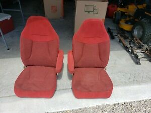 92 96 Ford Bronco F150 250 Truck Front Bucket Seats Red Cloth Driver