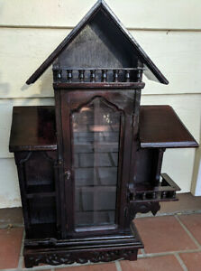 Detailed Vintage Victorian House Gingerbread Style Wood Carved Curio Cabinet 22
