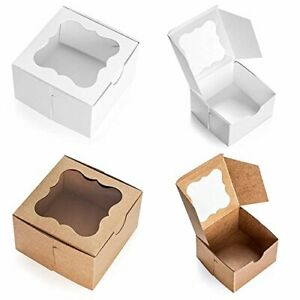 Eco Friendly Paperboard Brown Bakery Box W Window For Pastries Cupcakes 25 Pk