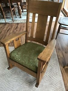Antique Mission Craftsman Oak Rocker Rocking Chair Solid Quarter Sawn