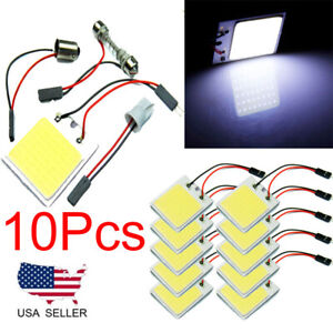 10pcs 48 Smd Cob White Panel Led T10 Car Interior Panel Light Dome Lamp Bulb 2h