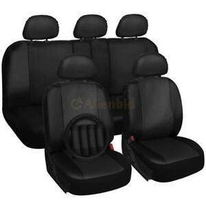 Universal Four Seasons Pu Leather 16pc Seat Covers Set For 5seat Cars Black