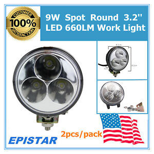 New 2x 9w 3 Led Work Lights Spot Beam Round Fits Truck Ute Driving Car Bumper Ms