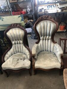 Victorian Pair His And Hers Antique Carved Walnut Parlor Chairs Set