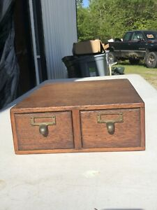 Tiger Oak Library 3 X5 Antique Card Catalog File Cabinet 2 Drawer Dovetailed