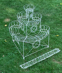 Antique French Wire 3 Tier Curlicue Plant Stand Shelf Late Victorian 19th C