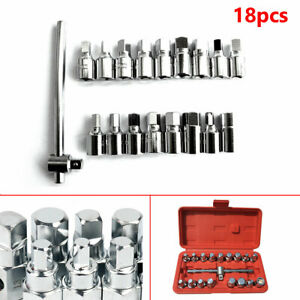 Silver 18pc Oil Drain Pipe Plug Hexagon Square Socket Removal Tool Set