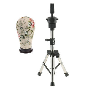 21 Plant Cork Canvas Block Mannequin Head For Wig Making With Tripod Stand