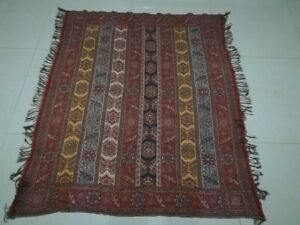Antique French Paisley Kashmir Square Piano Shawl Wool Size 58 X50 Table Cloth