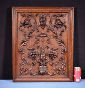 Large French Antique Deep Carved Panel Door Solid Walnut Wood With Flowers