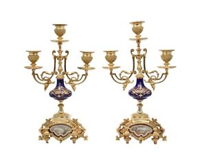 Antique Pair Of Gilt Metal Mounted Sevres Style Porcelain Candelabra Painted