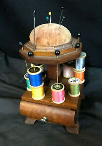 Adorable Antique Pin Cushion With Spool Holders And Drawer