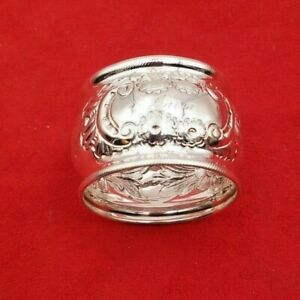 Exquisite Vintage Sterling Silver Fancy Napkin Ring W Monogram 6355