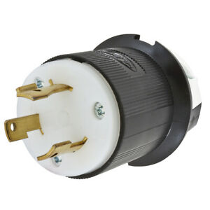 Hubbell Hbl2641 Locking Plug 30 Amp 480v Black And White