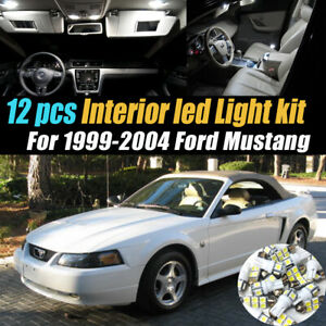 12pc Car Interior Led Super White Light Bulb Kit For 1999 2004 Ford Mustang
