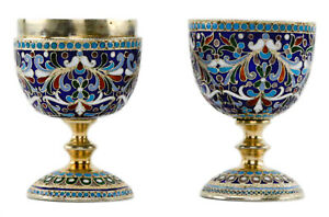 Pair Of Antique Russian Silver Enamel Egg Cups