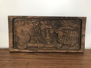 Evelyn Ackerman Era Industries Wood Carving Wall Plaque Mcm