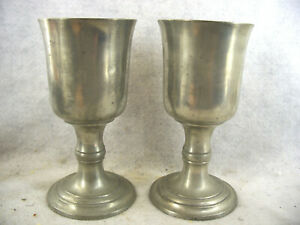Pair Of Antique American Pewter Footed Communion Chalices Boardmans
