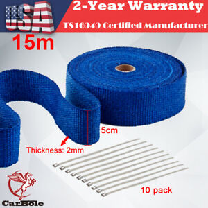Blue Fiberglass Wrap Exhaust Header Pipe Thermal Insulation Tape 2 X 50 Foot