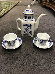 Vintage Japanese Porcelain Blue White Coffee Set Small Coffee Pot Cups