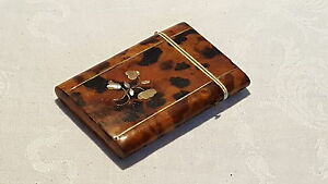 Brown Shell Mother Of Pearl Vintage Victorian Antique Card Case Box