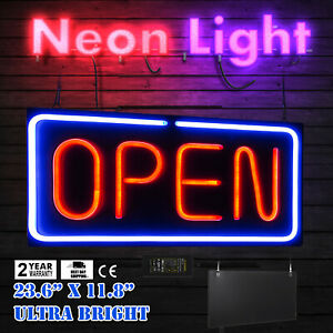 Neon Open Sign 24x12 Inch Led Light 30w Horizontal Wall Shops Dormitory Rooms