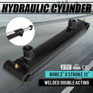 Hydraulic Cylinder 2 Bore 12 Stroke Double Acting Sae 6 Cross Tube Application