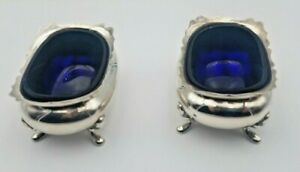 Pair Of English Sterling Silver Salt Cellars W Cobalt Blue Glass Liners 6374