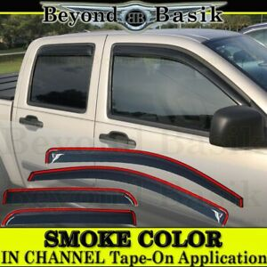2004 2010 2011 2012 Chevy Colorado Crew Cab Smoke In Channel Door Window Visors