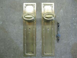 1 X Pair Original Reclaimed Brass Copper Bronze Door Knobs Backplates Pd10