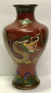 Antique 17c 18c Chinese Old Cloisonne Enamel Vase Two Dragons And Pearl