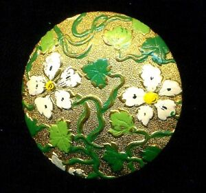 Antique Button Large Domed Painted Brass With Green Leaves White Flowers