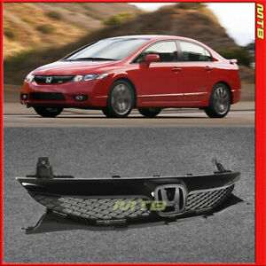 Glossy Black Si Style Front Grille Center Trim For 4d Honda Civic Sedan 09 11
