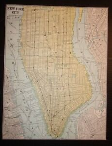 Antique 1893 Map Of New York City Southern Part