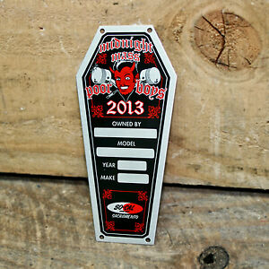 Vintage Style Dash Plaque Car Show Coffin Rat Hot Rod Custom Club Timing Tag Old