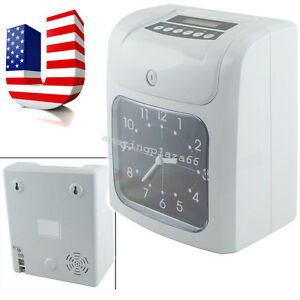 Electronic Employee Analogue Time Recorder Time Clock Lcd W card Monthly weekly