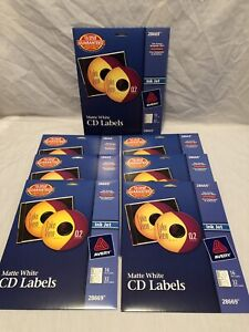 7 Pack Avery 28669 Matte White Cd Labels 16 Face Inkjet 32 Spine Labels Lot Of 7