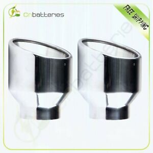 Pair Exhaust Tip 2 5 Inlet 4 Outlet 5 Long Double Wall Stainless Steel
