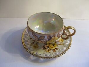 Vtg Royal Sealy China 3 Footed Lusterware Teacup Saucer Set Yellow Roses A7