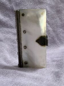 18th C Miniature Mother Of Pearl Silver Book Needle Holder Carnet Du Bal