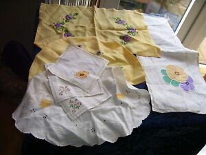 Lot Vintage Embroidered Linens Tea Cosy Tray Cloth Table Mats Coasters Napkin