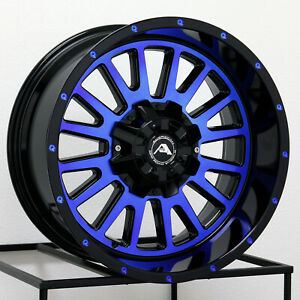 4 New 20 American Off Road A105 Wheels 20x12 5x150 44 Black Machined Blue Rims